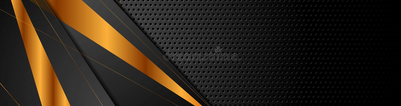 Bande bronzee nere su fondo perforato scuro illustrazione di stock