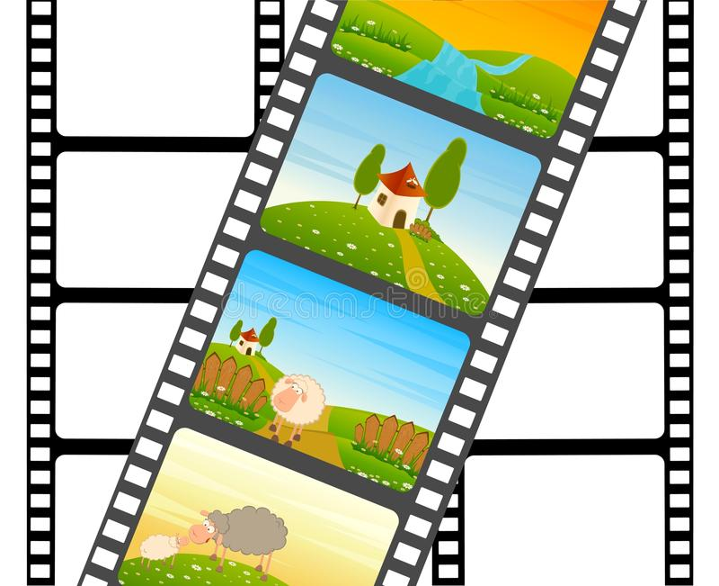 Bande colorée de film blanc avec des moutons illustration libre de droits