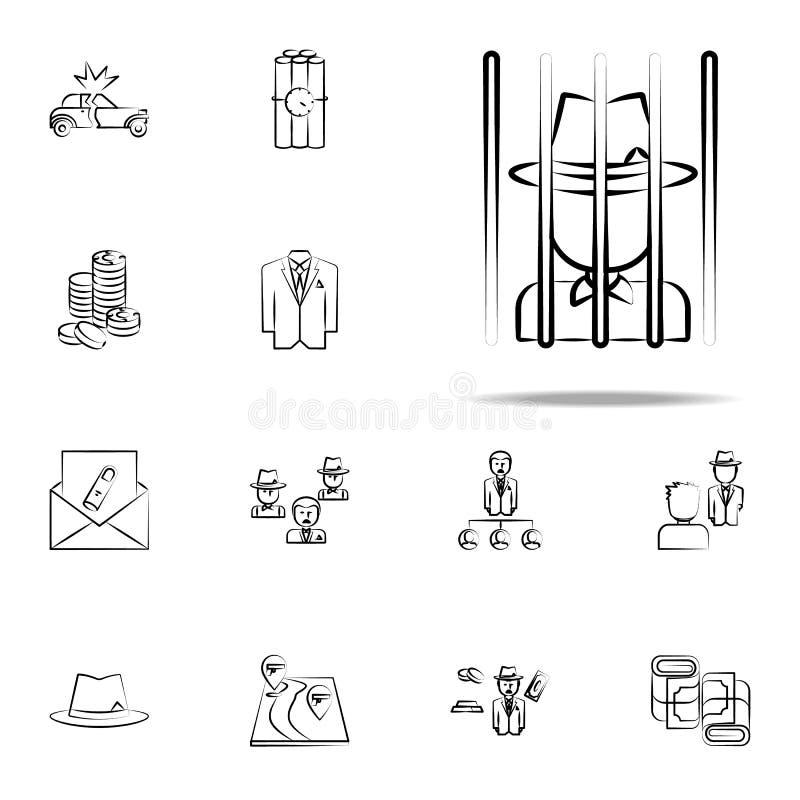 bande, criminel, bandit, prison, bande, icône criminelle ensemble universel d'icônes de Mafia pour le Web et le mobile illustration de vecteur