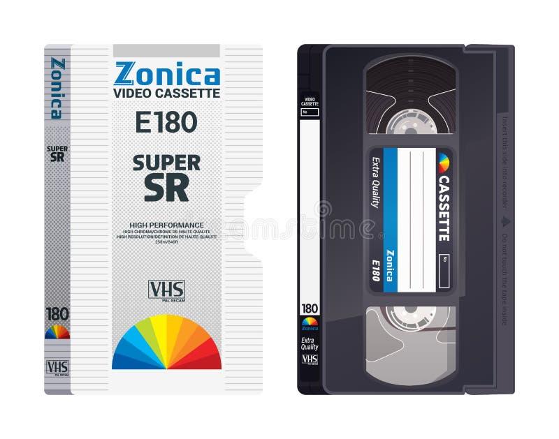Bande d'isolement de VHS de cru avec la couverture Illustration colorée de vecteur sur le fond clair Rétros objets originaux illustration de vecteur