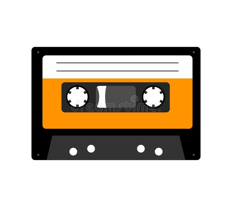 Bande de cassette sonore d'isolement sur le blanc illustration stock