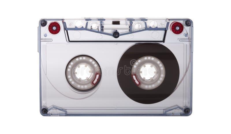 Bande de cassette sonore d'isolement sur le fond blanc, concept de musique du ` s du vintage 80 image libre de droits