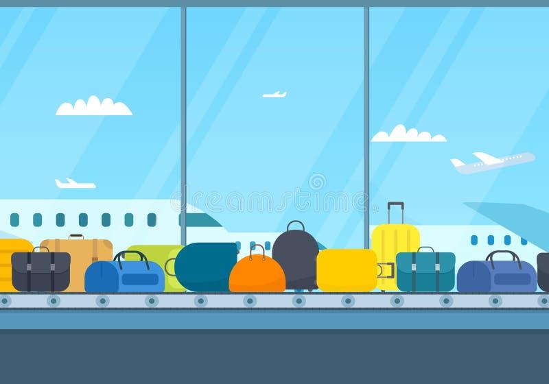 Bande de conveyeur d'aéroport avec le bagage illustration libre de droits