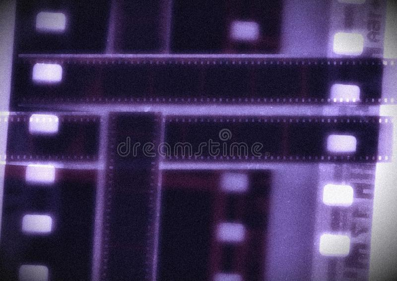 Bande de film de collage de vecteur de bobine de film de cobalt dans des variations de sépia images stock