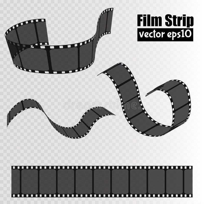 Bande de film d'isolement sur le fond transparent Calibre de bobine de film Vecteur illustration libre de droits
