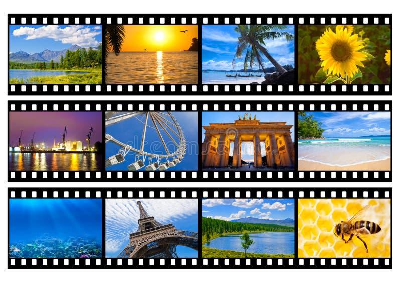 Bande de film de photos ou de photos de voyage d'isolement photos stock