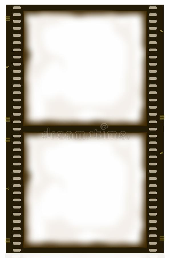 Bande de film de sépia de double cadre illustration de vecteur