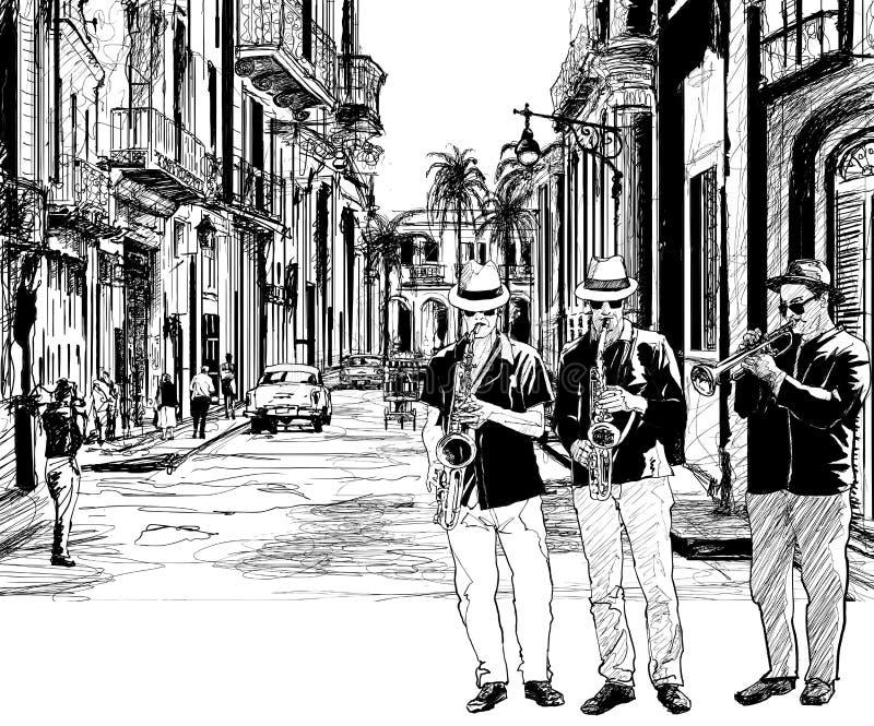 Bande de jazz au Cuba illustration de vecteur