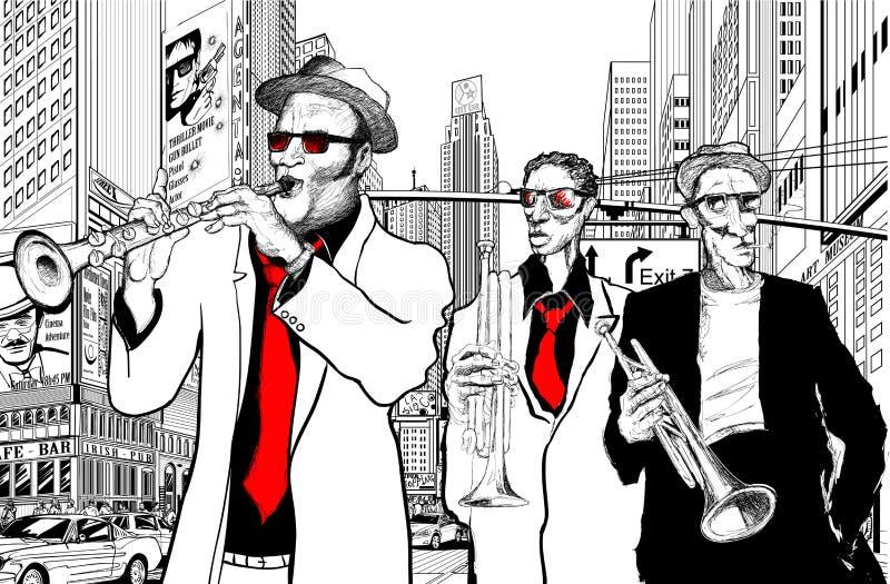 Bande de jazz dans une rue de New York illustration stock