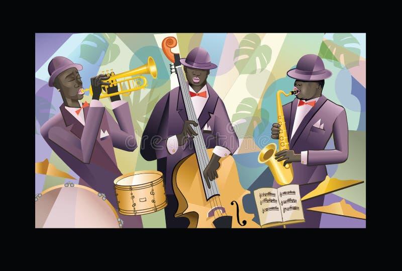 Bande de jazz sur un fond coloré illustration stock