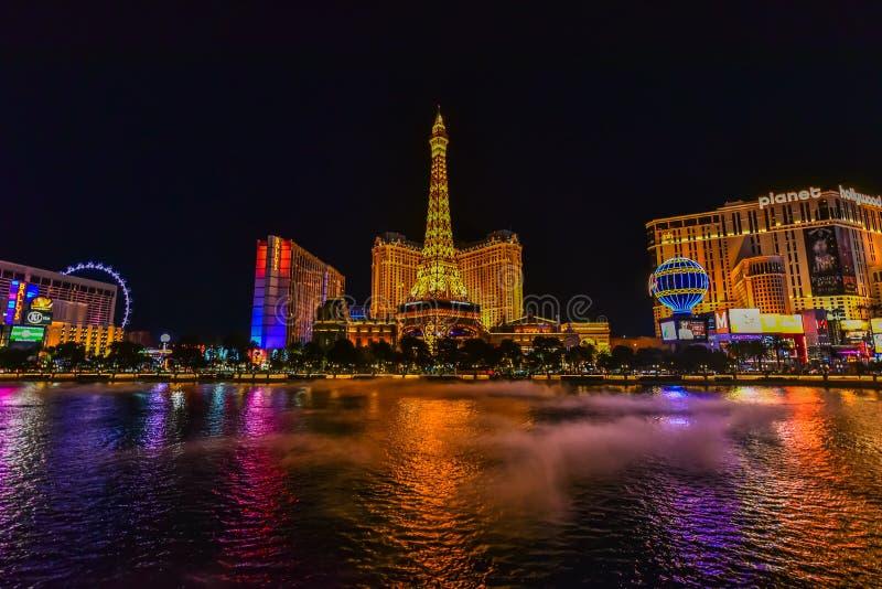 Bande de Las Vegas au Nevada comme vu la nuit Etats-Unis photo libre de droits