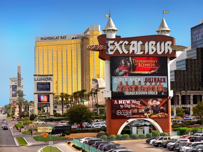 Bande de Las Vegas, Excalibur, baie de Mandalay, casino d'hôtel photos stock