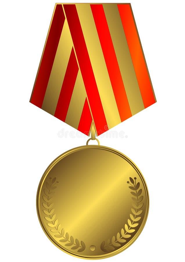 bande de médaille d'or barrée illustration stock