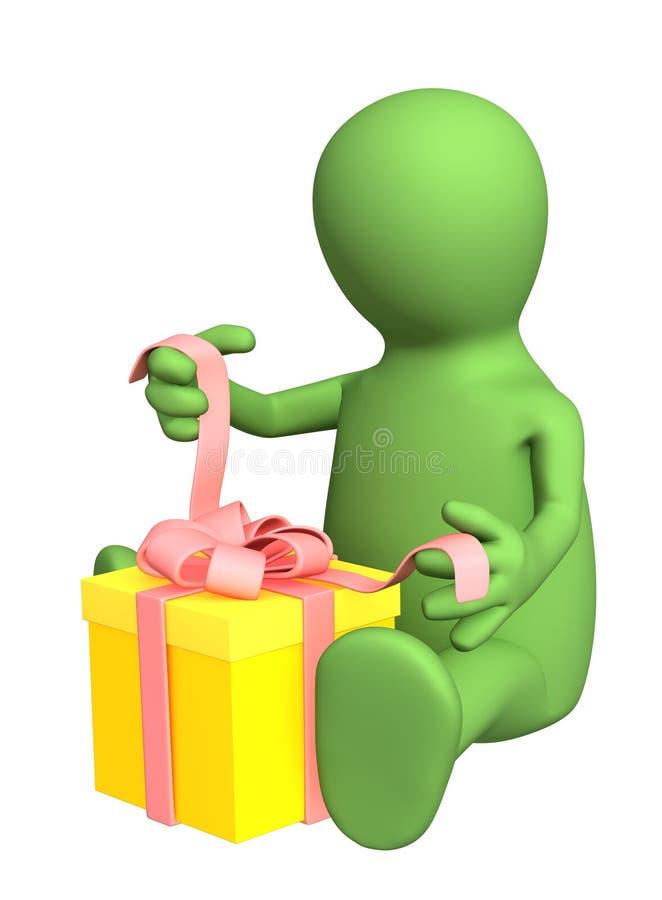 bande de marionnette de personne de cadeau de l'attache 3d illustration de vecteur
