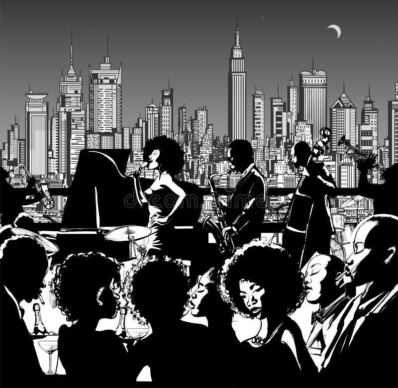 Bande de musique de jazz exécutant à New York illustration stock
