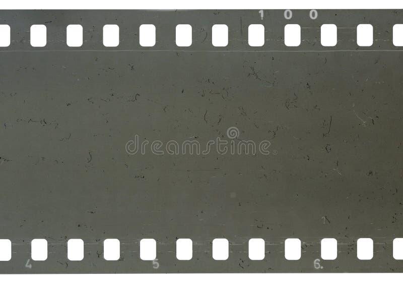 Bande de vieille pellicule à celluloïde avec la poussière et des éraflures images libres de droits