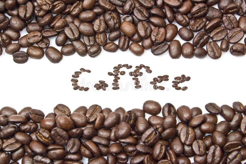 Bande dei chicchi di caffè isolate nel fondo bianco immagine stock libera da diritti