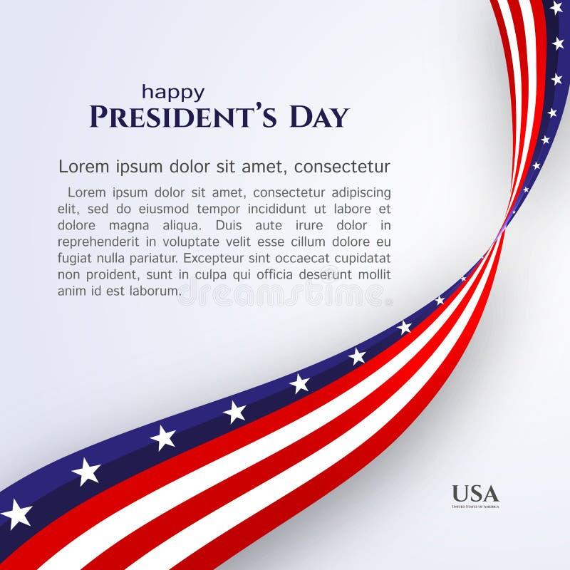 Bande delle stelle del nastro della bandiera americana del Day del testo dell'insegna di presidente felice su una bandiera americ illustrazione vettoriale