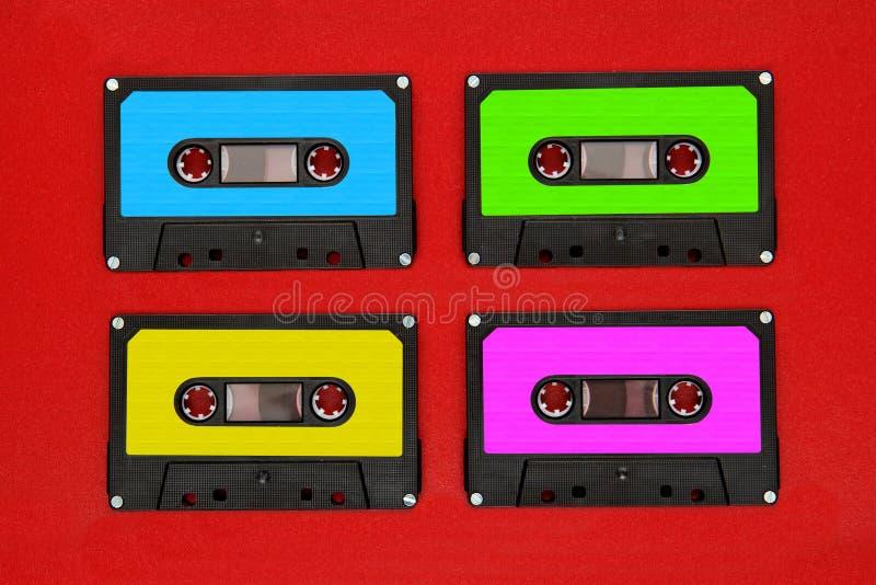 bande des colores quatre de cassettes photos libres de droits
