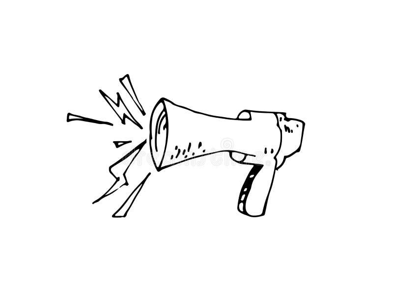 Bande dessinée à main levée de mégaphone image libre de droits