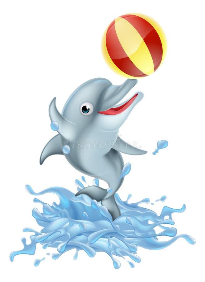 Bande dessinée éclaboussant le dauphin jouant de la boule illustration libre de droits