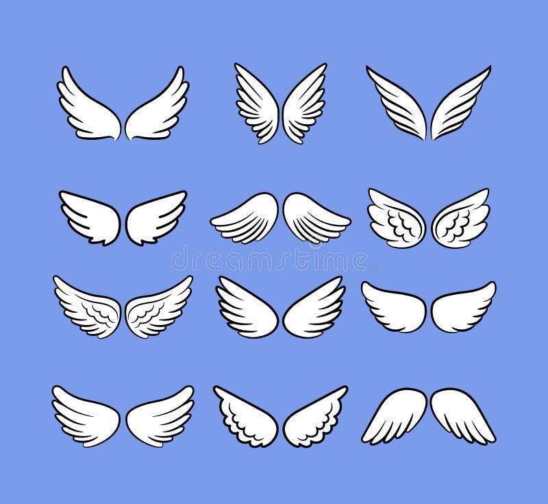 Bande dessinée Angel Wings Set Les ailes tirées par la main d'isolement sur le blanc, les oiseaux de bande dessinée ou les anges  illustration stock