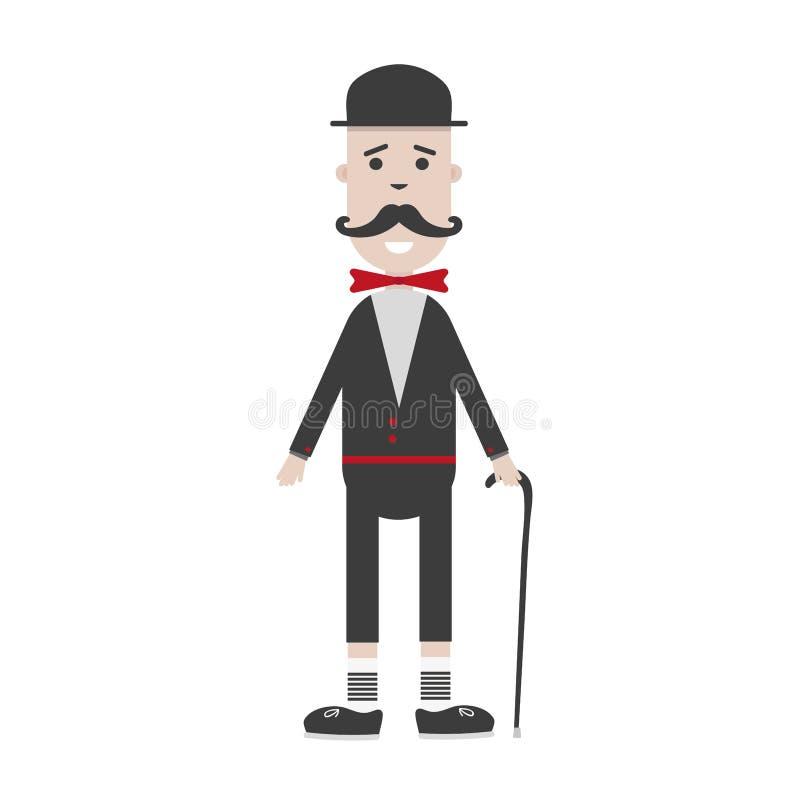 Bande dessinée anglaise, moustache britannique de monsieur tenant le bâton illustration de vecteur