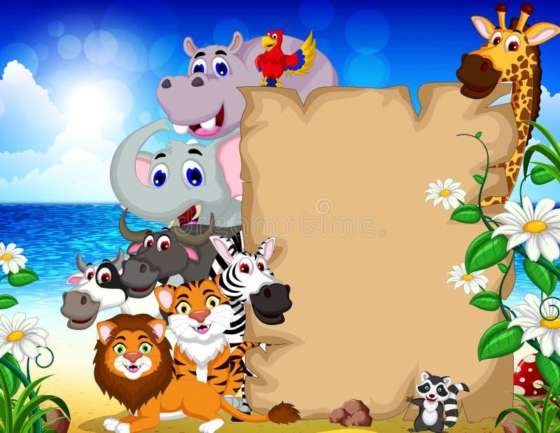 bande dessinée animale avec le signe vide et le fond tropical de plage illustration de vecteur