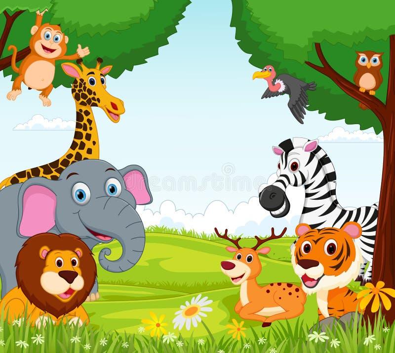 Bande dessinée animale dans la jungle image stock