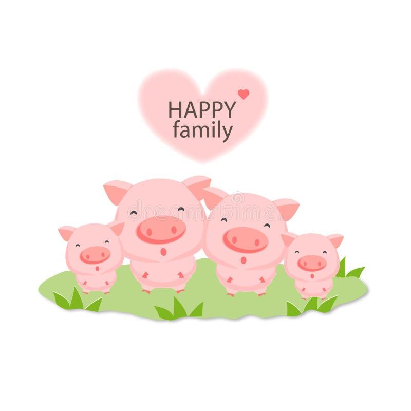 Bande dessinée animale de famille heureuse Porc de mère et de chéri illustration stock