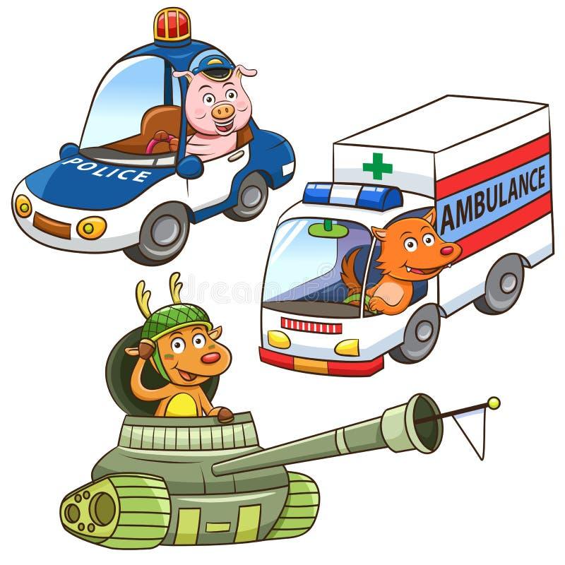 Bande dessinée animale de profession de véhicule illustration de vecteur