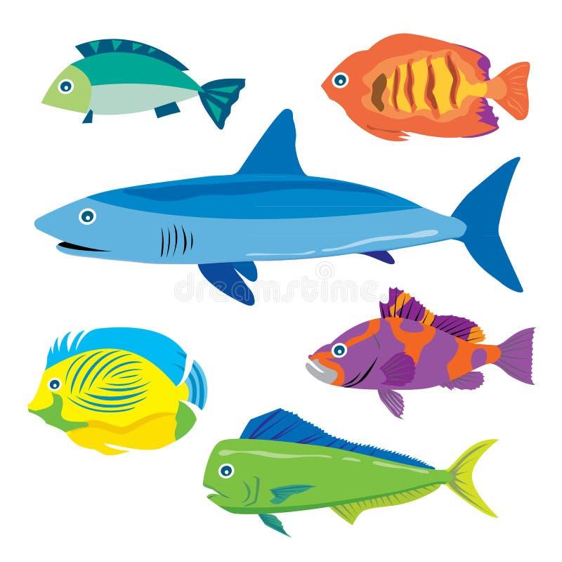 Bande dessinée animale tropicale de vecteur d'eaux de pêche illustration de vecteur