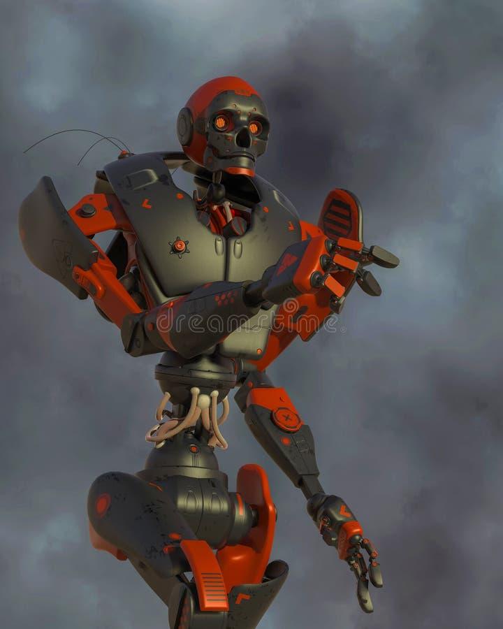 Bande dessinée apocalyptique de robot sur seul le désert illustration stock