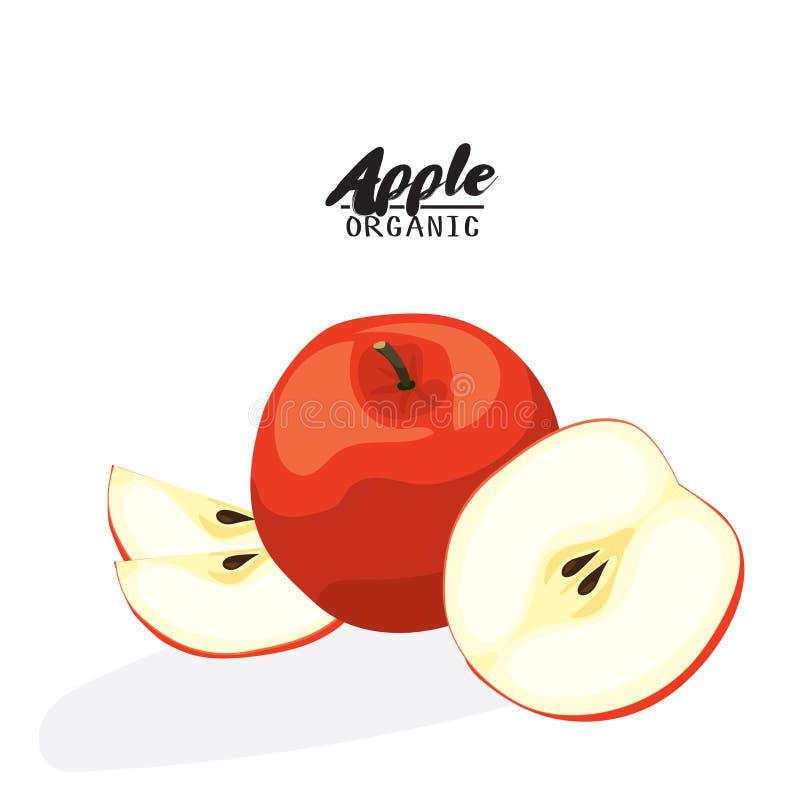 Bande dessinée Apple Fruit rouge mûr Végétarien délicieux Eco organique illustration stock