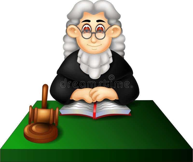 Bande dessinée belle de juge se reposant avec le sourire illustration stock