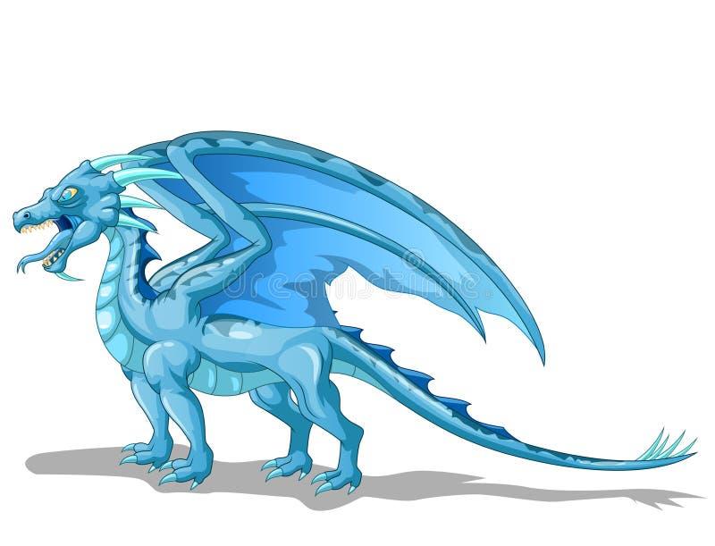 Bande dessinée bleue d'animal de dragon de glace illustration stock