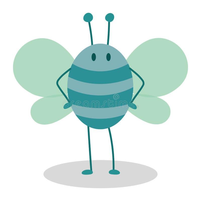 Bande dessinée bleue d'insecte d'abeille illustration libre de droits