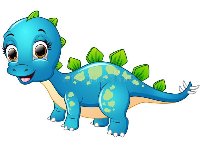 Bande dessinée bleue heureuse de dinosaure illustration de vecteur
