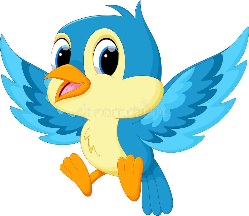 Bande dessinée bleue mignonne d'oiseau illustration stock