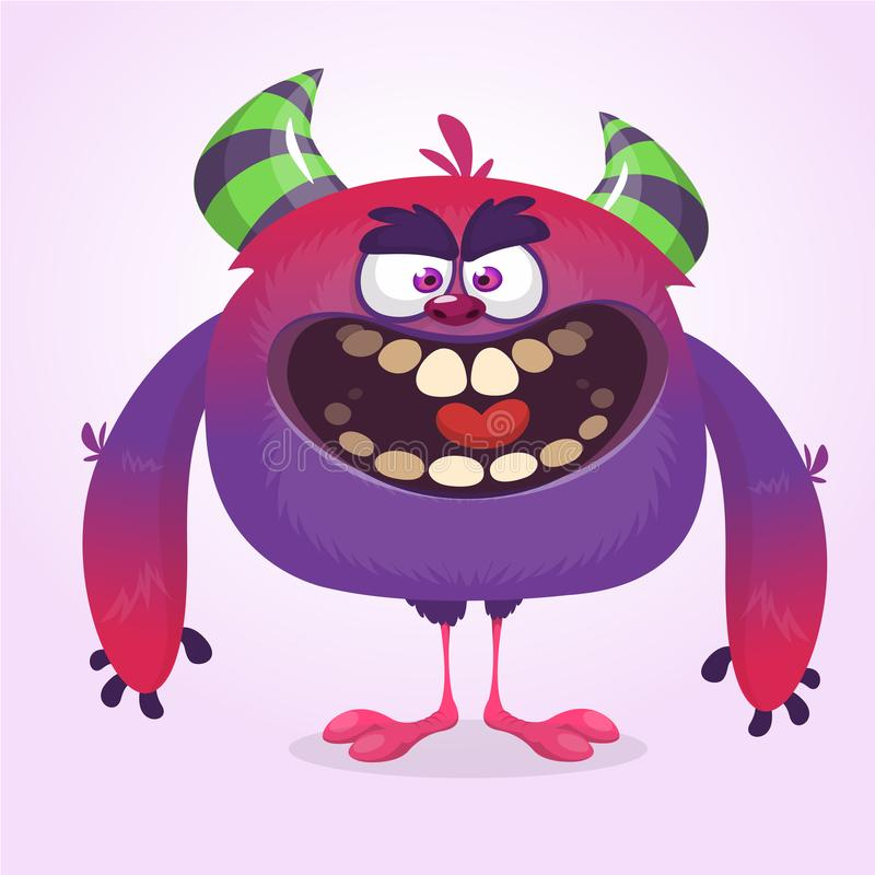 Bande dessinée bleue mignonne de monstre avec l'expression drôle Illustration de vecteur de Halloween de gros troll ou lutin velu illustration de vecteur