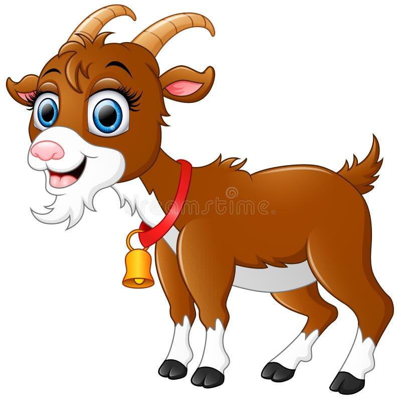 Bande dessinée brune mignonne de chèvre illustration de vecteur