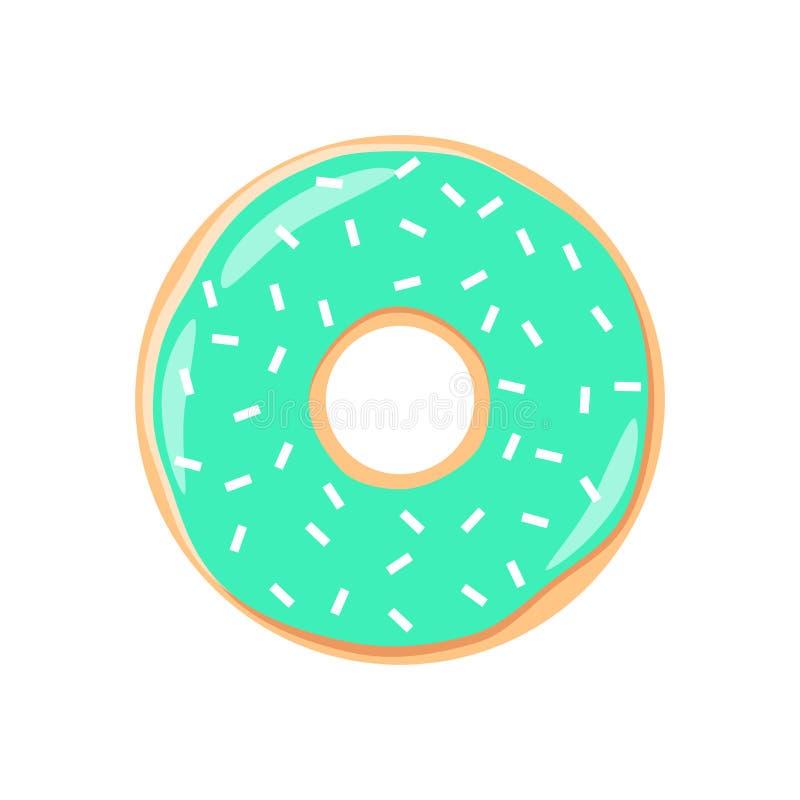 Bande dessinée colorée de beignet de glaçage de turquoise Le beignet de givrage de turquoise avec arrose illustration libre de droits