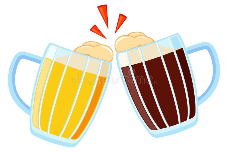 Bande dessinée colorée tasse de bière deux en verre illustration libre de droits