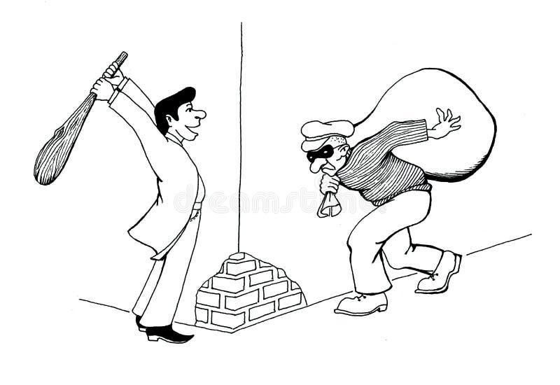 Bande dessinée comique noire et blanche Le dessin de main du cambrioleur a volé un autre cambrioleur illustration de vecteur
