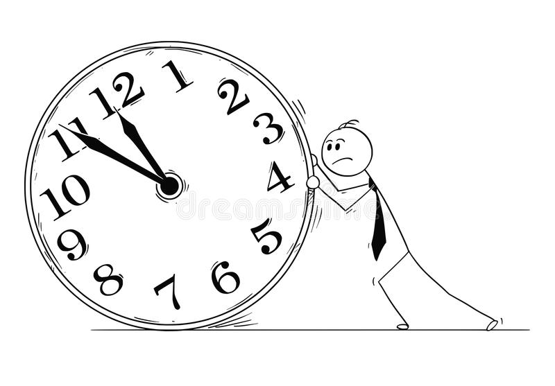 Bande dessinée conceptuelle d'homme d'affaires Pushing Big Clock illustration stock