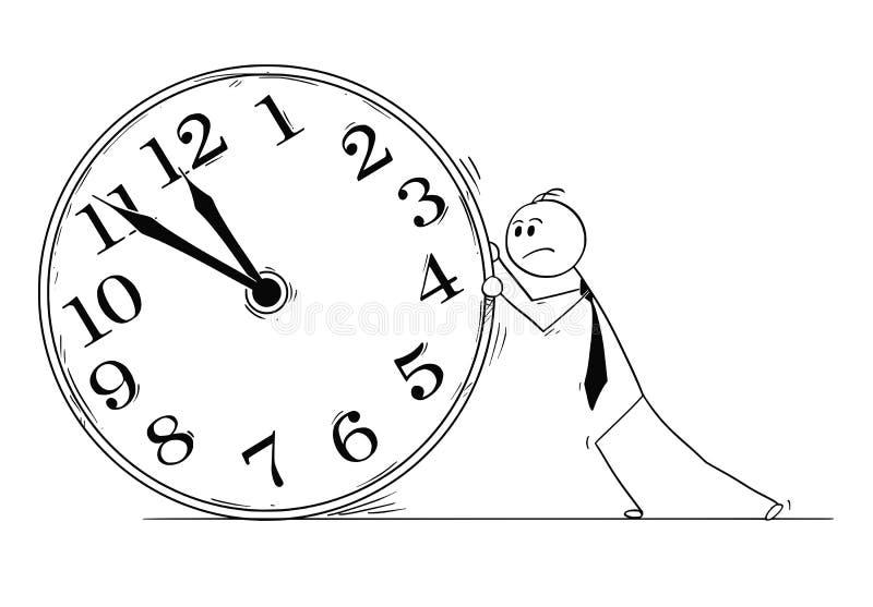 Bande dessinée conceptuelle d'homme d'affaires Pushing Big Clock illustration stock