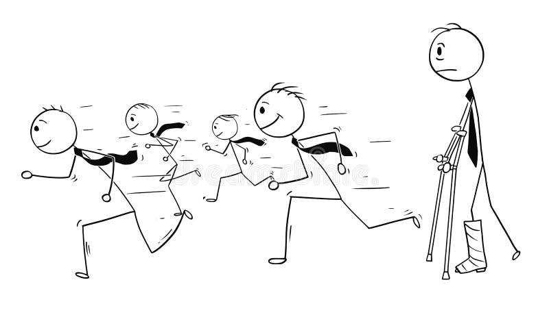 Bande dessinée conceptuelle de l'homme d'affaires avec la jambe cassée observant les hommes d'affaires courants en bonne santé co illustration stock