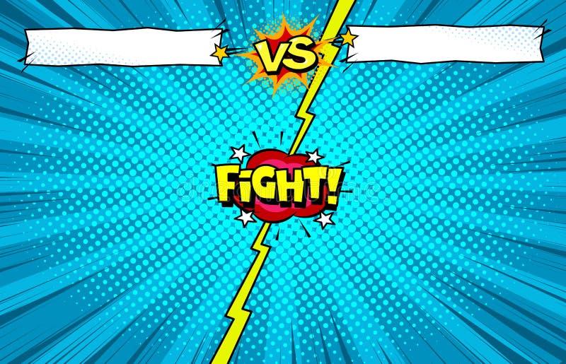 Bande dessinée contre le fond de calibre de combat, introduction de bataille de super héros illustration stock