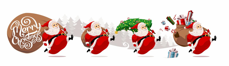 Bande dessinée courante Santa Claus illustration de vecteur