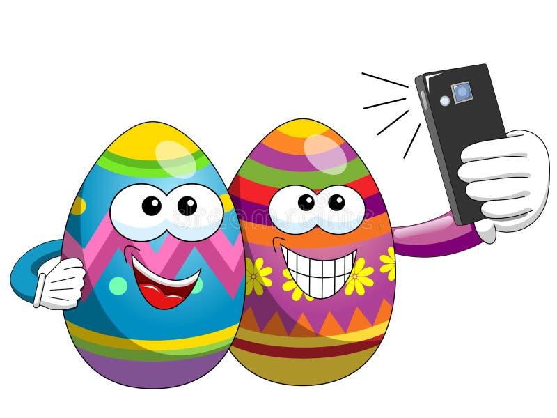 Bande dessinée décorée d'oeufs de pâques prenant le smartphone de selfie d'isolement illustration de vecteur